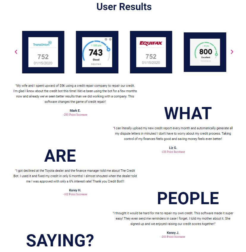 The credit bot user result