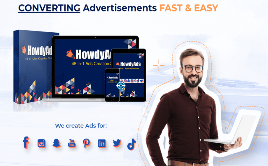 HowdyAds – 45-in-1 Social Media Posts Ads Design Apps Lifetime Discount Deal For $47 Only
