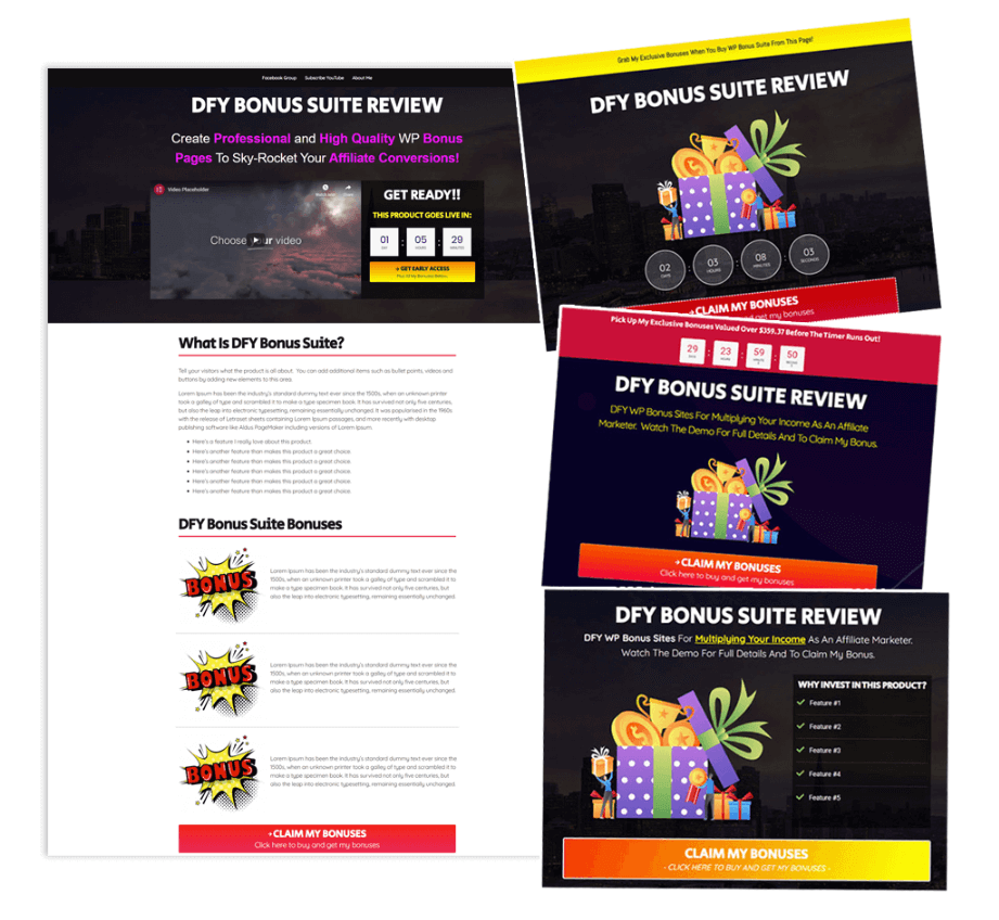 DFY Bonus Suite – Profit Driven Bonus Page WP Templates Lifetime Deal